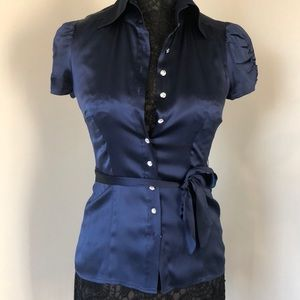 Bebe Silk Navy blouse